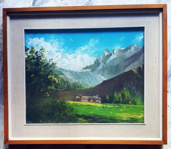 Quadro raffigurante una baita in montagna in Val D'Aosta