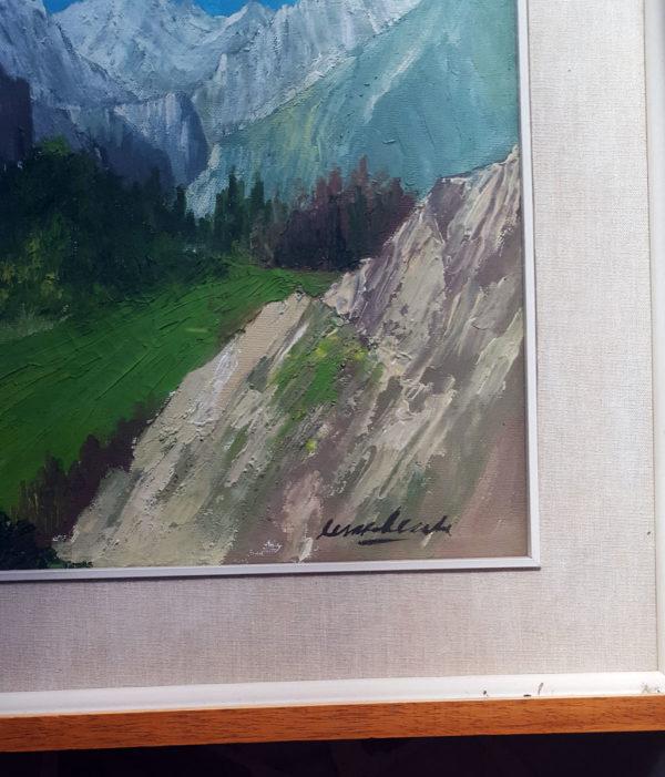 Olio su Tela quadro raffigurante la Valle di Aosta