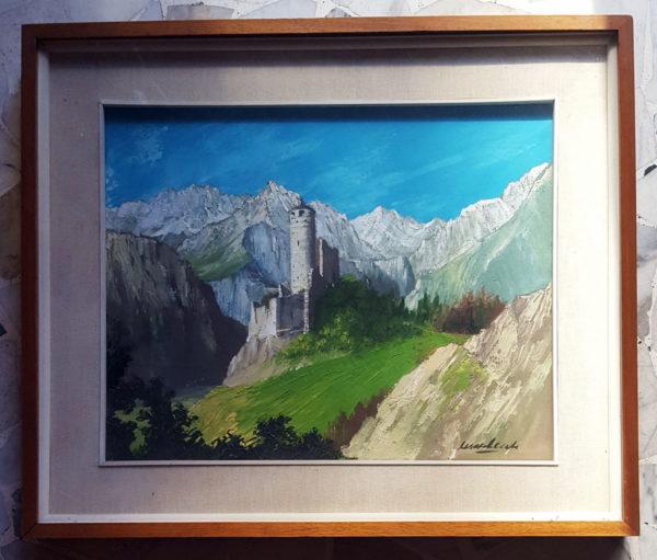 Quadro raffigurante castello in Valle D'Aosta