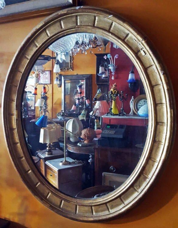 Specchiera ovale dorata specchi vintage 1Solo.com complementi d'arredo d'epoca