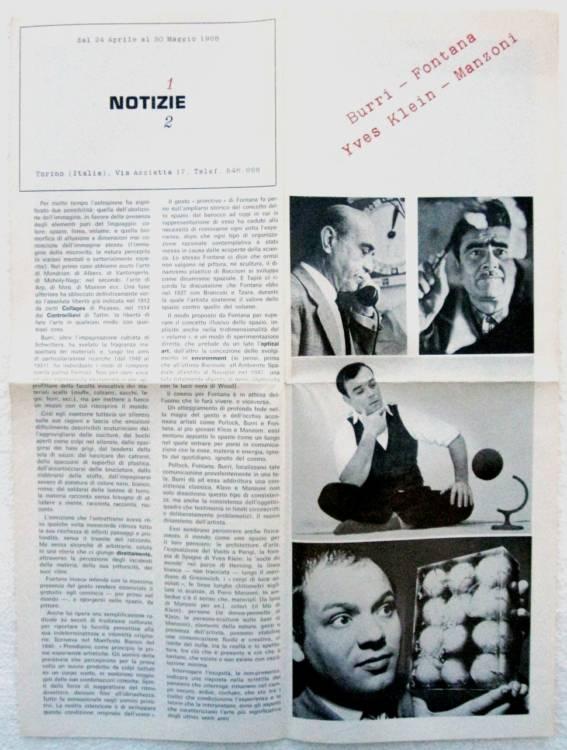 BURRI, FONTANA, KLEIN, MANZONI - Galleria Notizie, Torino - 1°ed.1968